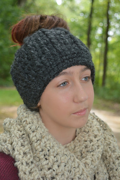Charcoal gray messy bun ponytail beanie winter hat
