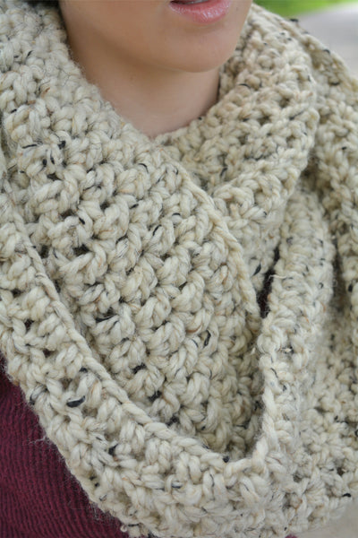 Oatmeal infinity cowl winter scarf