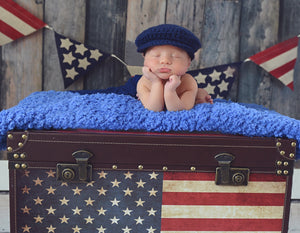 Newborn Navy Blue Irish Donegal Newsboy Hat