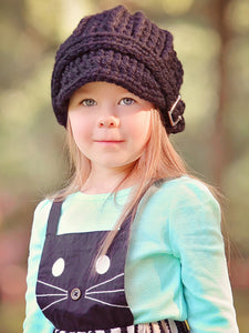 4T to Preteen Kids Black Buckle Beanie by Two Seaside Babes