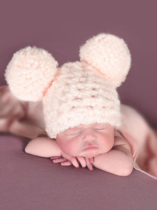 Pale pink giant pom pom winter hat by Two Seaside Babes