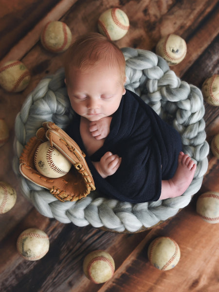Gray marble newborn photo prop chunky round bump blanket by Two Seaside Babes