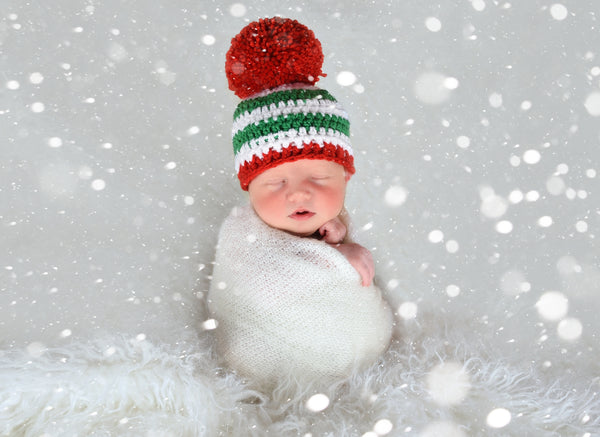 Striped Christmas hat | Green & White Stripes giant Red pom pom | newborn, baby, toddler, child, girl, boy, adult sizes