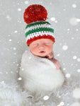 Striped Christmas hat | Green & White Stripes giant Red pom pom | newborn, baby, toddler, child, girl, boy, adult sizes by Two Seaside Babes