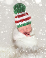 Striped Christmas hat | Red & White Stripes giant Green pom pom | newborn, baby, toddler, child, girl, boy, adult sizes by Two Seaside Babes