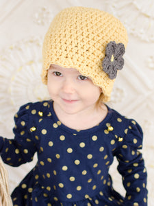 Country yellow flapper beanie hat | 34 flower colors available