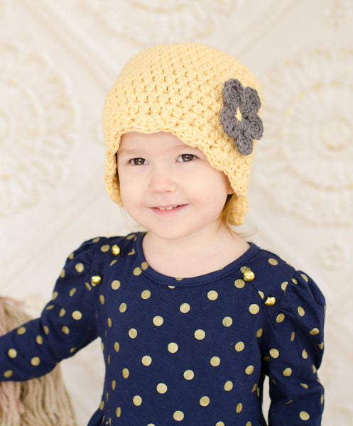 Country yellow flapper beanie hat | 32 flower colors available