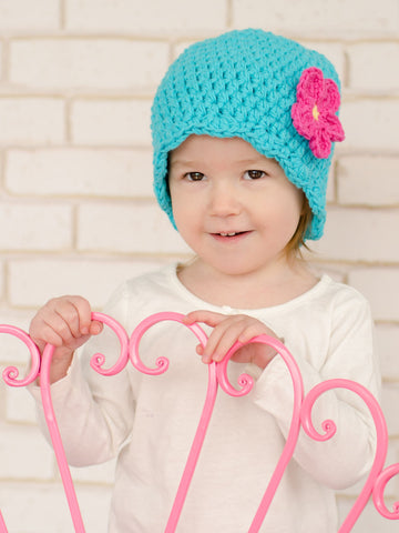 Turquoise blue flapper beanie hat | 32 flower colors available by Two Seaside Babes