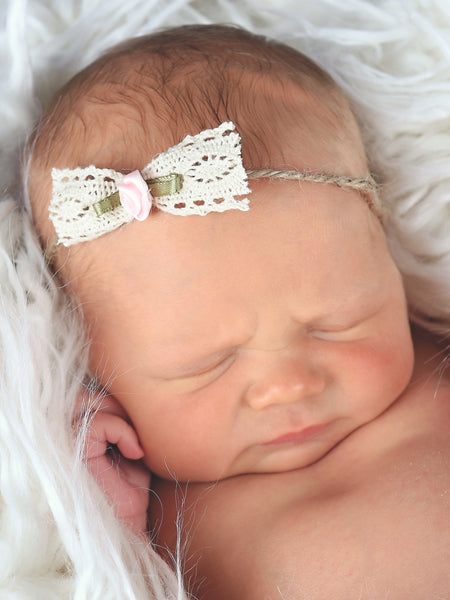 Newborn baby girl tieback - lace bow with light pink flower by Two Seaside Babes