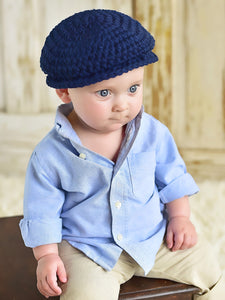 9 to 12 Month Navy Blue Irish Donegal Newsboy Hat by Two Seaside Babes