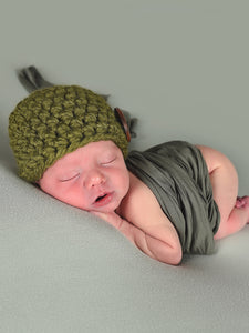 Olive green button beanie baby hat by Two Seaside Babes