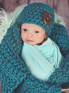 Teal button beanie baby hat by Two Seaside Babes
