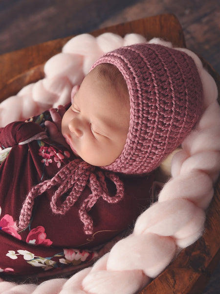 Rose pink baby bonnet, hospital hat, shower gift, newborn photo prop