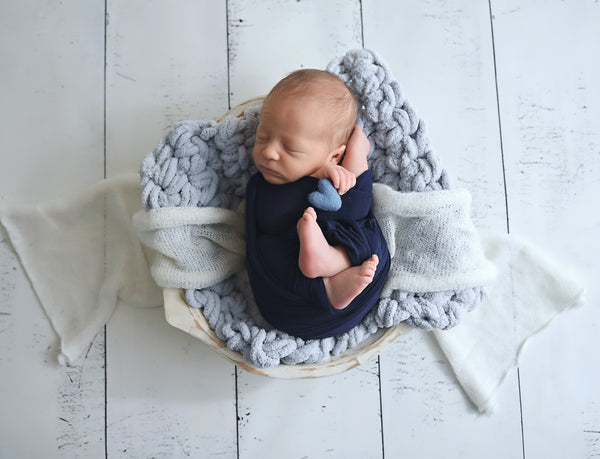 Pale blue newborn photo prop chunky bump layer