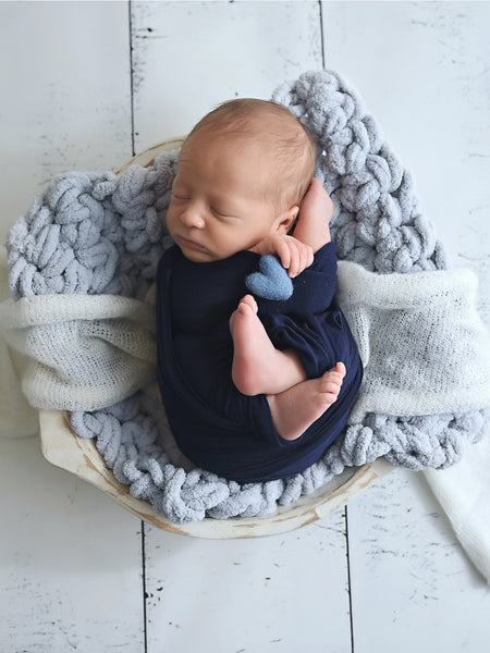 Pale blue newborn photo prop chunky bump layer by Two Seaside Babes
