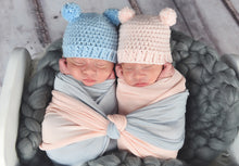 Pale Blue & Pale Pink Mini Pom Pom Bear Hat