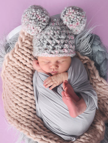 Pale Gray & Pink Pom Pom Hat by Two Seaside Babes