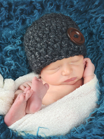 Charcoal sparkle button beanie baby hat by Two Seaside Babes