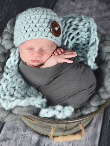 Sky blue button beanie baby hat by Two Seaside Babes