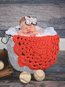 Red flower doily newborn baby girl bump blanket by Two Seaside Babes
