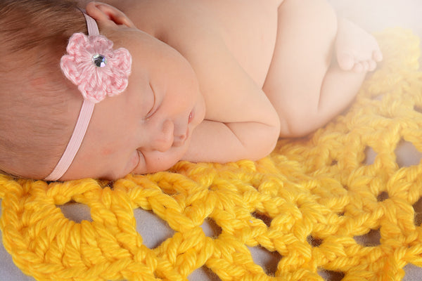Yellow flower doily newborn baby girl bump blanket