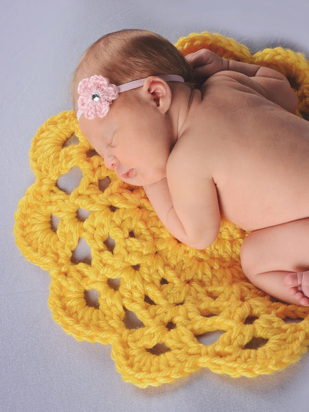Yellow flower doily newborn baby girl bump blanket by Two Seaside Babes
