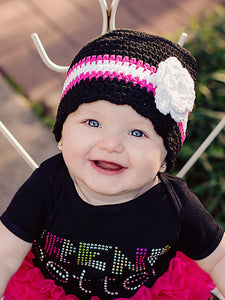 9 to 12 Month Black, Hot Pink, White, &  White Sparkle Striped Flapper Beanie by Two Seaside Babes
