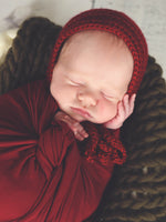 Red wine baby bonnet, hospital hat, shower gift, newborn photo prop by Two Seaside Babes