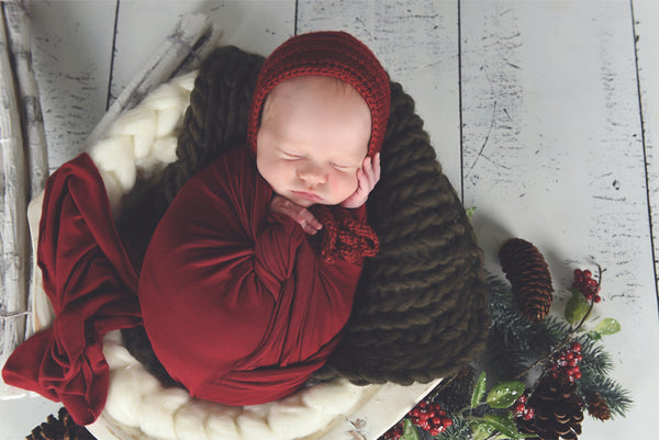 Red wine baby bonnet, hospital hat, shower gift, newborn photo prop