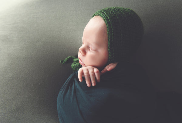 Sage green baby bonnet, hospital hat, shower gift, newborn photo prop