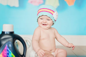 9 to 12 Month Aqua Blue, Hot Pink, Yellow, & White Striped Flapper Beanie