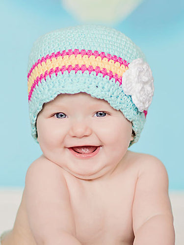 9 to 12 Month Aqua Blue, Hot Pink, Yellow, & White Striped Flapper Beanie by Two Seaside Babes