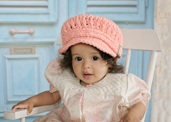 9 to 12 Month Peach Buckle Newsboy Cap