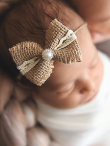 Newborn baby girl tieback - burlap & lace bow with pearls