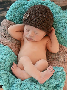 Dark brown wood button beanie baby hat by Two Seaside Babes