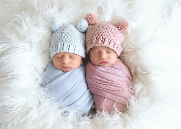 Rose pink & pale pink mini pom pom hats