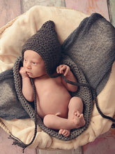 Charcoal Gray Pixie Elf Baby Hat by Two Seaside Babes