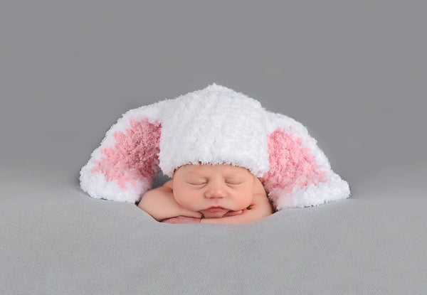 White Easter bunny baby hat ~ 6 ear colors available