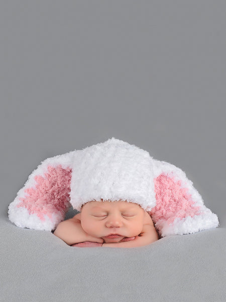 White & light pink Easter bunny baby hat by Two Seaside Babes