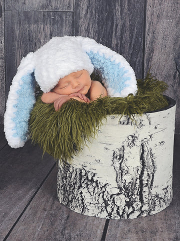 White & light blue Easter bunny baby hat by Two Seaside Babes