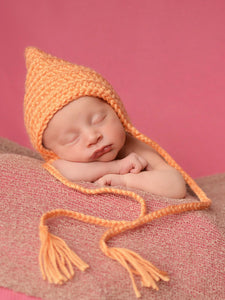 Tangerine pixie elf hat by Two Seaside Babes