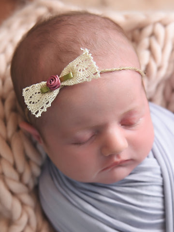 Newborn baby girl tieback - lace bow with dusty pink flower