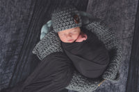 Pale Blue and Gray Chunky Round Bump Blankets