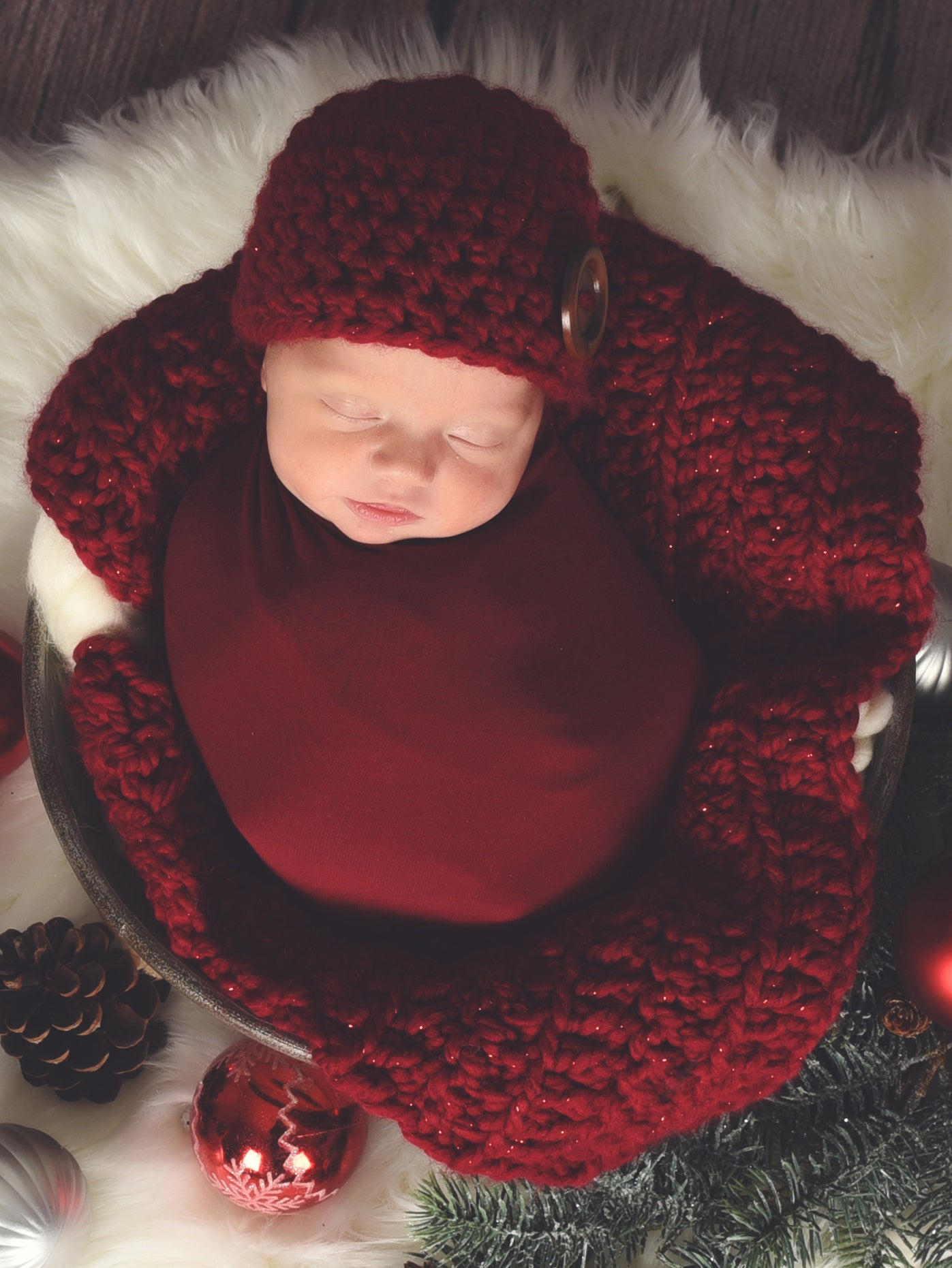 Cranberry Sparkle newborn baby layering bump blanket by Two Seaside Babes