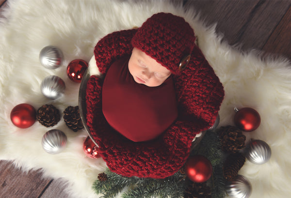 Cranberry Sparkle newborn baby layering bump blanket