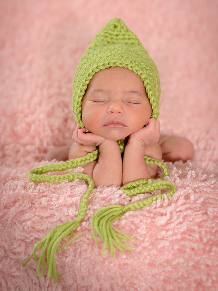 Pistachio Pixie Elf Baby Hat by Two Seaside Babes