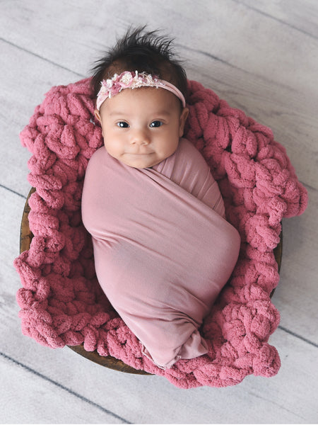 Rose pink newborn photo prop chunky bump layer by Two Seaside Babes