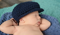 Newborn Navy Blue | Irish wool Donegal newsboy hat, flat cap, golf hat | newborn, baby, toddler, boy, & men's sizes