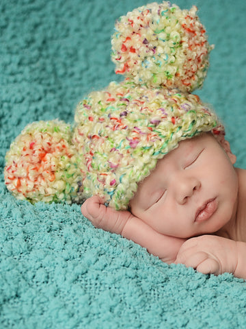 Newborn Tutti Frutti Pom Pom Hat by Two Seaside Babes