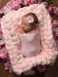 Pale pink newborn photo prop chunky bump blanket by Two Seaside Babes